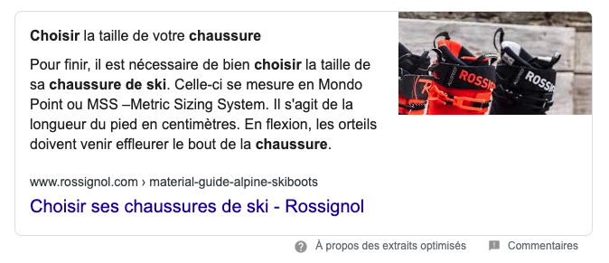 Exemple de Featured Snippets